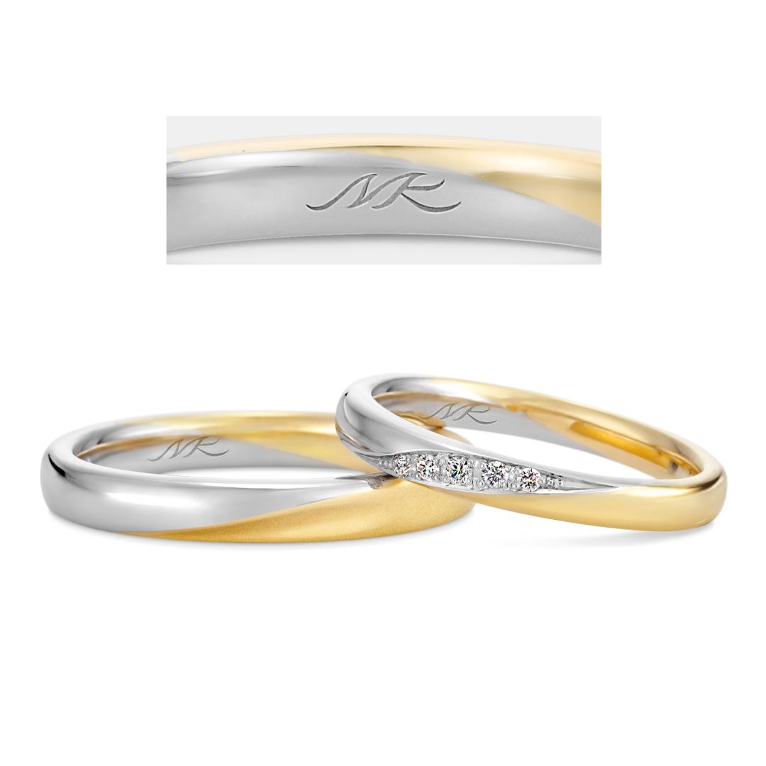 オーダーメイド刻印のコンビ結婚指輪