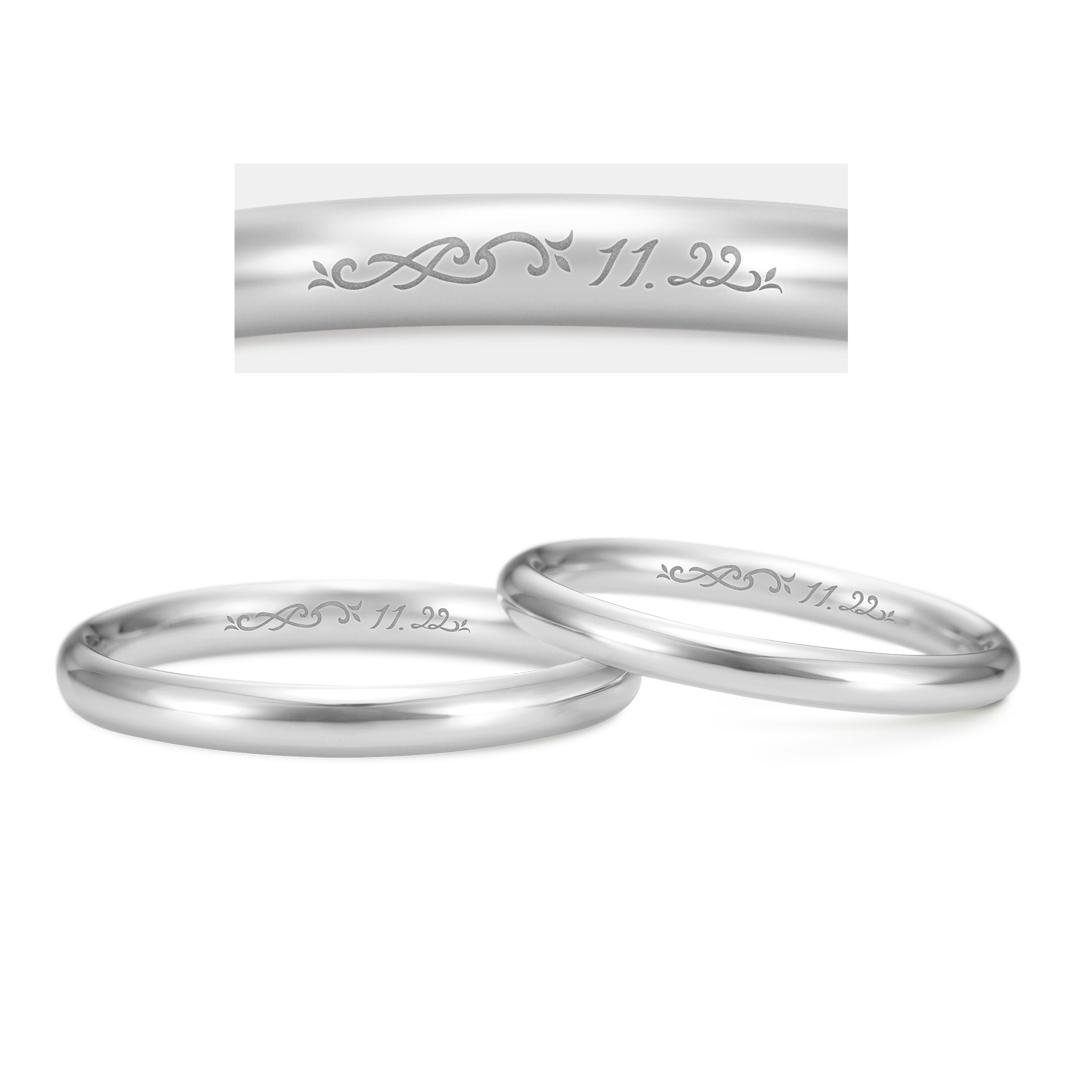 オーダーメイド刻印のプラチナ結婚指輪