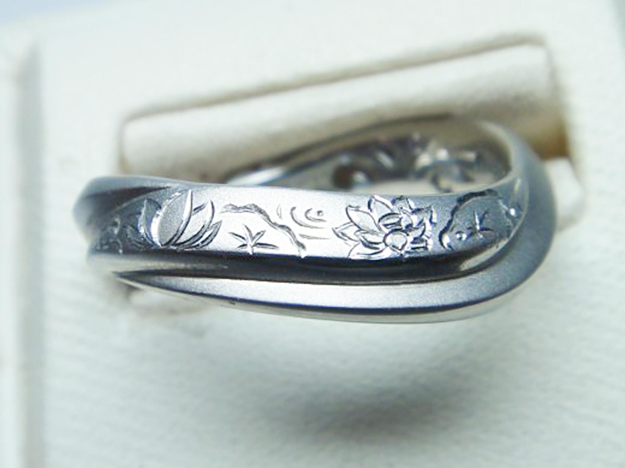 結婚指輪の彫模様