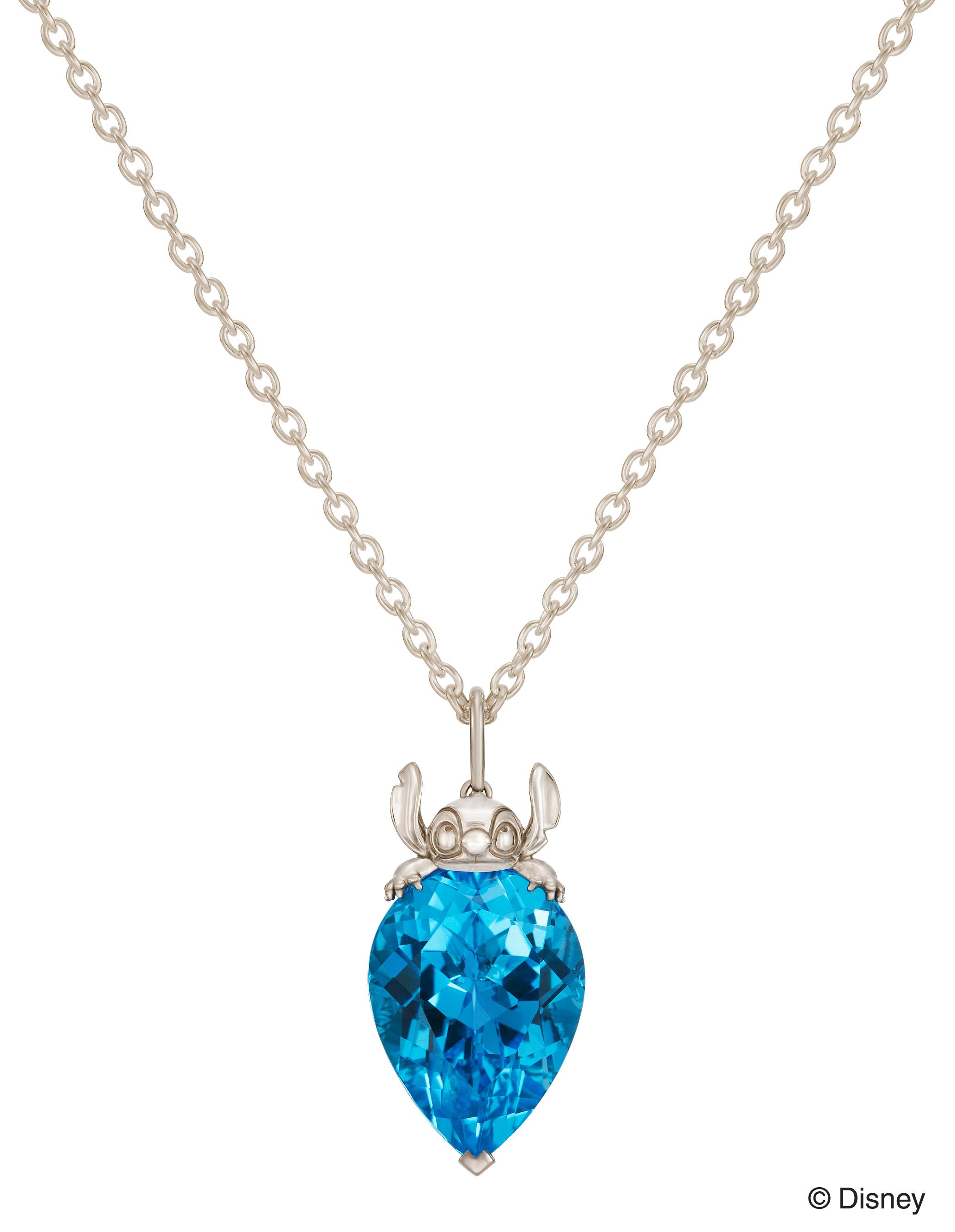 青いカラーストーン付スティッチデザインのネックレス