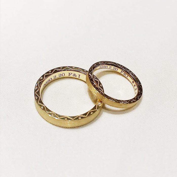 ゴールドのオーダー結婚指輪